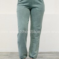 Cool Grey Wash Sweat Pants