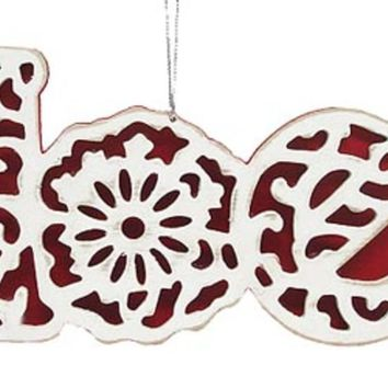 "Red & White Stained Glass ""Noel"" Christmas Ornament #20545"