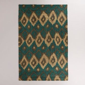 5'x8' Blue Ikat Hand-Braided Jute Bima Area Rug