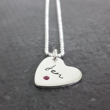 Personalized Birthstone Heart Necklace