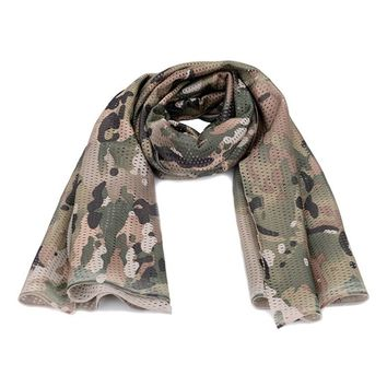Military Tactical Camouflage Scarf Mesh Outdoor Breathable Headband Mesh Scarf Outdoor Jungle Muffler Camping bisiklet bandana