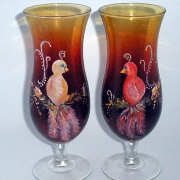 Painted Glasses with Fancy Lovebirds by PaintedDesignsByLona