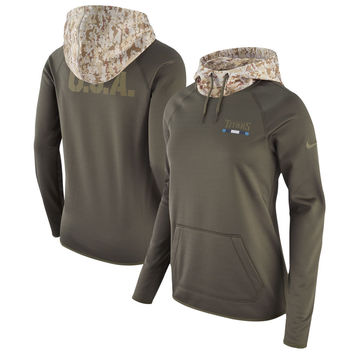 Women's Nike Olive Tennessee Titans Salute to Service Performance Pullover Hoodie