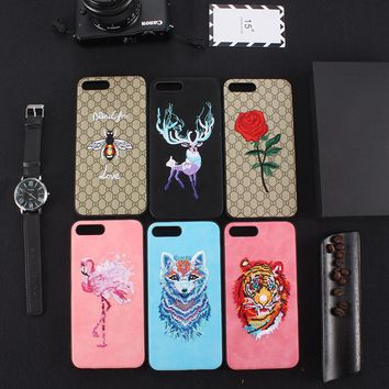 New 3D Embroidery Phone Case For iPhone 6 6s 7 8 Plus X Cute Bird Tiger Flower Animal Embroidery Phone Case Cover Fundas Coque