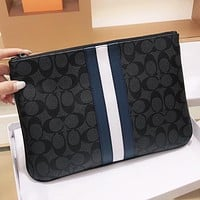 COACH New fashion pattern print leather cosmetic bag file package handbag Black