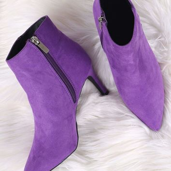Bamboo Suede Pointy Toe Kitten Heeled Ankle Boots
