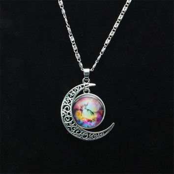 Vintage Star Moonstone Necklace Pendant Necklaces  Fashion Long Chains  Moon Necklace Jewelry