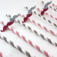 Set of 10 Glitter Mustache Paper Straws in Grey and Pink - Perfect for Weddings, Showers, Bachelorette, Birthdays, Parties