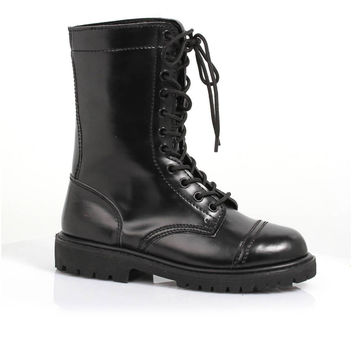 1 Inch Ankle Women's Combat Boot With Laces. (10,Black)