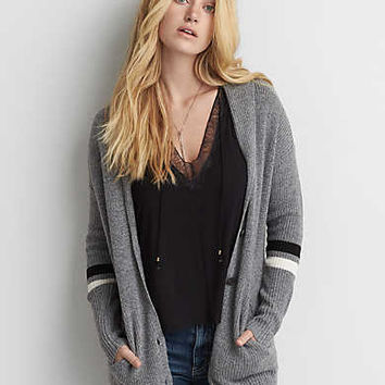 AEO Varsity Stripe Cardigan , Heather Gray