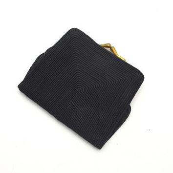 Vintage Genuine Corde Coin Purse Wallet, Black Corde Wallet, circa 1940s
