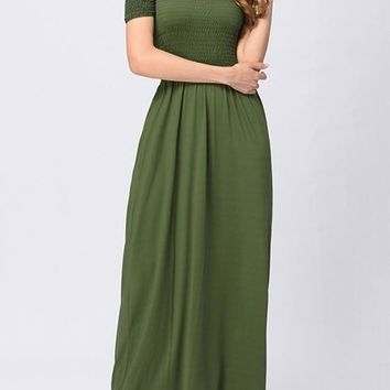 Army Green Draped Bandeau Short Sleeve Elegant Maxi Dress