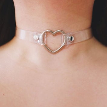 High Quality Buckle Collar CLEAR Transparent PVC Heart O-RING Choker Collar Necklace: Gothic Punk Heart Choker Collar