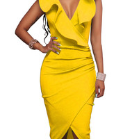 Deep V-neck Ruffles Irregular Pure Color Knee-length Dress