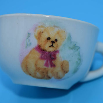 Miniature Bear Cup Vintage Child Toy Tea Cup Teddy Bear Motif Play Set Replacement Cup Ceramic Pretend Play Cup Gift for Her Child