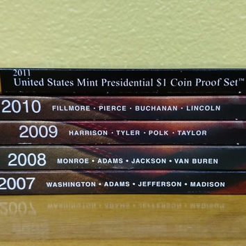 2007 – 2011 US Mint Presidential $1 Unc Coin Sets – All 5 sets mint sealed