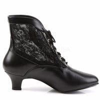 "Dame 05 Lace Panel Victorian Style Ankle Boots 2"" Heel 6-12 Black"