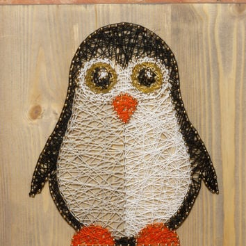 Nursery decoration, penguin string art made on reclaimed wood planks, perfect decor for kids room or a gift for newborn, wall decoration