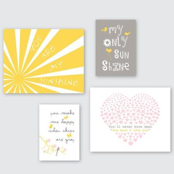 Girl Nursery Art Prints, You Are My Sunshine Wall Decor, Toddler Wall Art over Crib or Dresser Set of 4 Gallery Prints or Canvas ESH-138