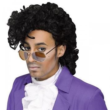 Prince Costume Wig Adult Purple Rain 80s Rocker Pop Star Halloween Fancy Dress
