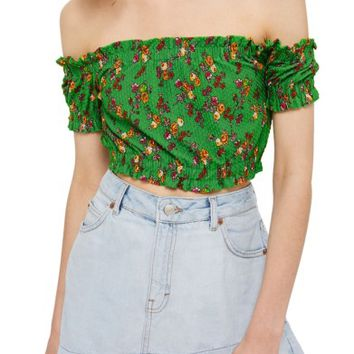 Topshop Floral Off the Shoulder Crop Top (Regular & Petite) | Nordstrom