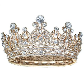 Gold Tiara Crown Crystal For Bride Hair Accessory Cosplay King Queen