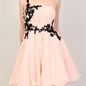 One Shoulder A-line with Pleatings Knee Length Cocktail Part Prom Dress Lace Chiffon Homecoming Dress = 1956721668