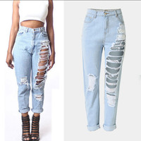 Ripped Jeans Female Casual Washed Holes Boyfriend Jeans