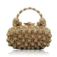 Skull Purses And Handbags For Women Bling Crystal Clutch Evening Bag