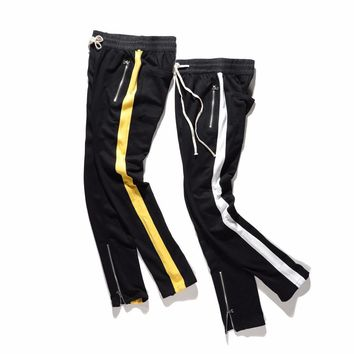 Men Side Striped Terry Sweatpants Zipped Pocket Ankle Panelled Jogger Free Shipping