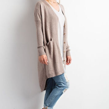 Long Cardigan with Pockets - Mocha