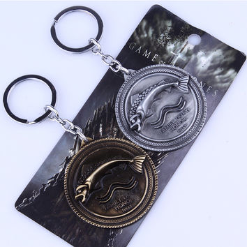 2015 New Arrivals 5cm Game of Thrones Key Chain GOT Song of Ice and Fire Baratheon Stark Arryn Tully Greyjoy Martel Keychain