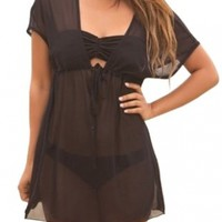 Bloom's Outlet Mesh Sheer Baby Doll Swimsuit Cover Up Tunic One Size