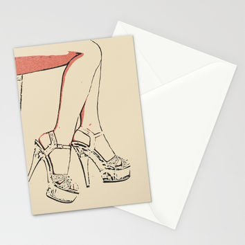 Simply sexy, perfect girl legs, hot, kinky high heels, sensual erotic close up, fit woman body, nude Stationery Cards by Peter Reiss