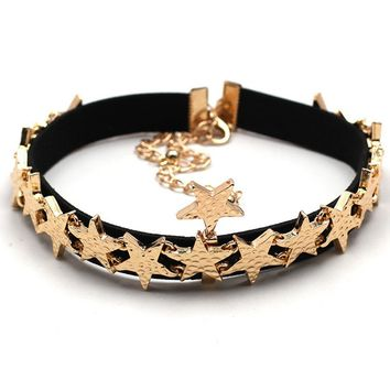 Streetstyle  Casual Two Pieces Stars Choker Necklace