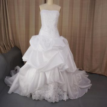 Princess Wedding Dresses Strapless Ball Gown Lace Beaded Corset