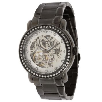 Kenneth Cole KC4810 Women's Silver Skeleton Dial Black Ceramic Automatic Watch