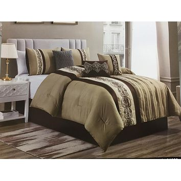 Modern Taupe Brown Lining Decor Luxury Comforter Set - 7 Piece Set
