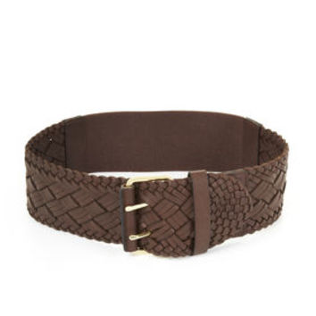 Brown BCBG Braided Elastic-Back Waist Belt