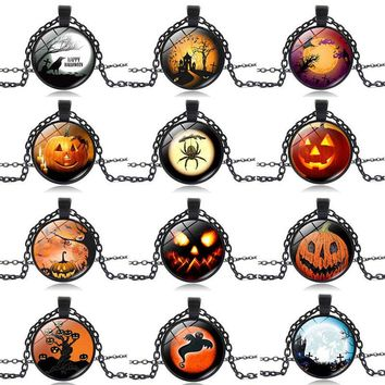 Halloween Raven Crow Ghost Pumpkin Witch Spider Bat Photo Necklace&Pendants Cat Picture Cabochon Glass Black Chain Collares Hot