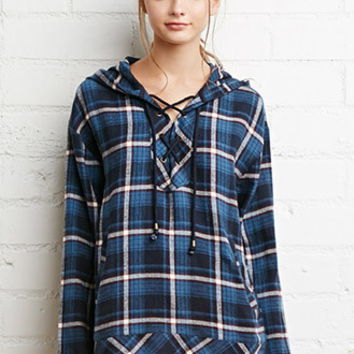 Flannel Plaid Lace-Up Hoodie