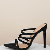 Pointed Sole Strappy Stiletto Heel Mules