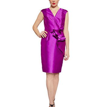 Carmen Marc Valvo Ruffled Cap Sleeve Dress