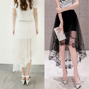 Asymmetric Elastic Band Women's Summer Beach Cocktail Party Prom High Low Skirt