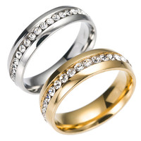 New Arrival Stylish Gift Shiny Jewelry Stainless Steel Diamonds Luxury Korean Ring [10059711811]