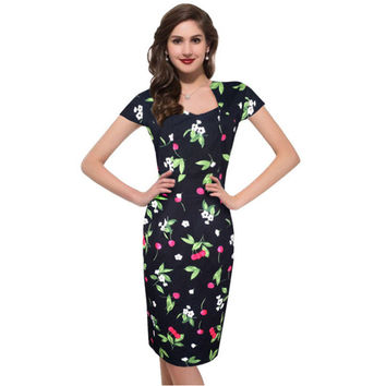 Womens Floral/Checker Print Dress Vestidos De Fiesta Elegant Vintage Peplum Retro