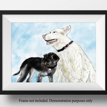ORIGINAL watercolor pet illustration double pet portrait painting two dogs animal portraits drawn from photo - original not prints uk seller