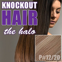 "Halo Hair Extensions 20"" Dark Golden Blonde/Medium Golden Blonde (P#12/#20) - Human No Clip In Flip In Couture by Knockout Hair"