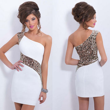 Sexy one shoulder sequined dress 5307XN