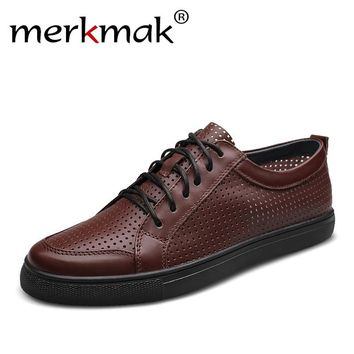 Merkmak 2017 Genuine Leather Men Shoes Fashion Casual Breathable Outdoor Holes Handmade Chaussure